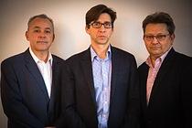: Ian Lankshear (centre), EnSilica's CEO, with David Doyle (left), Sales Director, and Mark Hodgkins (right), Executive Chairman.