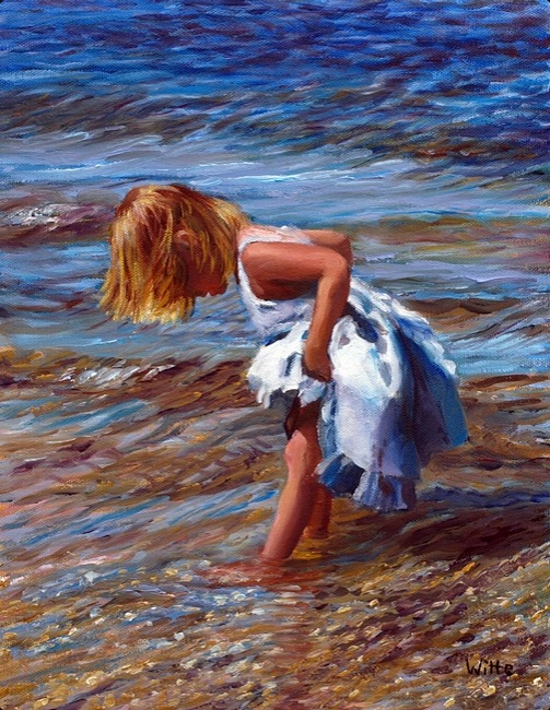 A young girl in a white dress wades in the cool water of a nearby lake in New England.