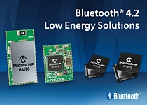 Qualified to the latest Bluetooth 4.2 standard, the IS1870 and IS1871 Bluetooth LE RF ICs, along with the BM70 module, expand Microchip's existing Bluetooth portfolio and carry both worldwide regulatory and Bluetooth Special Interest Group (SIG) certifications.