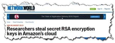 Researchers steal secret RSA encryption keys in Amazon's cloud (via Network World)