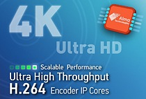 Alma Technologies announces the addition of three new Ultra High Throughput H.264 encoders to its UHT Image & Video Compression IP product line. This new family of scalable H.264 encoders offers progressively increasing levels of compression and enables 4K resolutions in power- and cost-effective FPGA and ASIC implementations.
