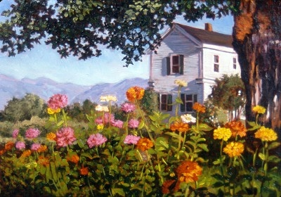 A flower garden thrives near a large tree, with an old country inn visible in the background.