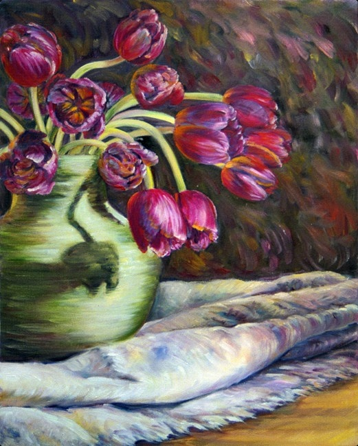 Lovely hues of magenta, purple, green and blue mingle in an impressionist still life of tulips, vase and cloth.