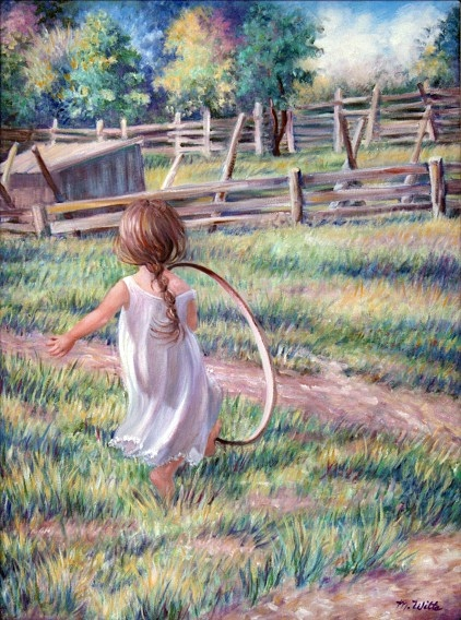 A young girl, in a white dress with braided hair, is playing.  She dashes after her hoop, towards an old wooden-fenced pasture.