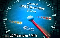 Alma Technologies introduces the UHT(trade) JPEG decoder IP, designed to offer massive pixel rates and very low end-to-end latency video transmission when paired with the UHT-JPEG-E IP core, using highly cost-effective FPGA and ASIC technologies.