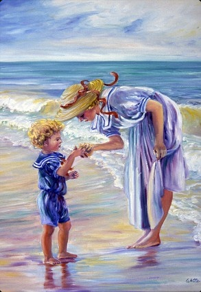 A mother, dressed in a white sundress and hat, and her young son (in a blue outfit) investigate a discovery on the seashore.