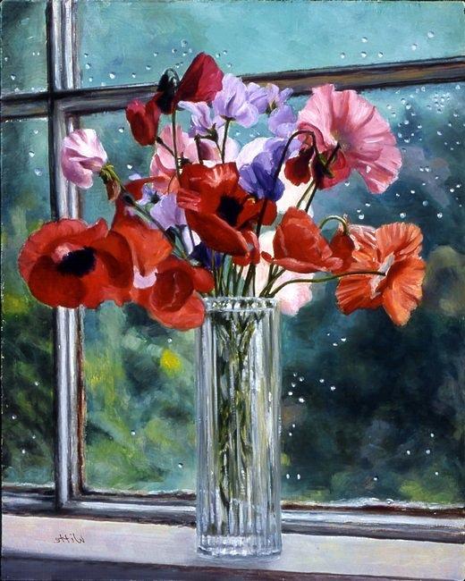 "Paint Window Sill Interior: ""Flowers On Windowsill"" (1995)"