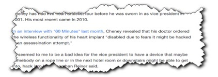 Cheney's heart implant's wireless functionality disabled to prevent assassination attempts (via Yahoo)