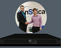 Brock Huxtable, CEO of Flower Technology (left) and Ian Lankshear, Managing Director of EnSilica shake hands on their partnership for the development of ASIC scrypt miners