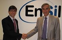 Ian Lankshear, Managing Director of EnSilica (left), with John Redwood, MP for Wokingham (right)