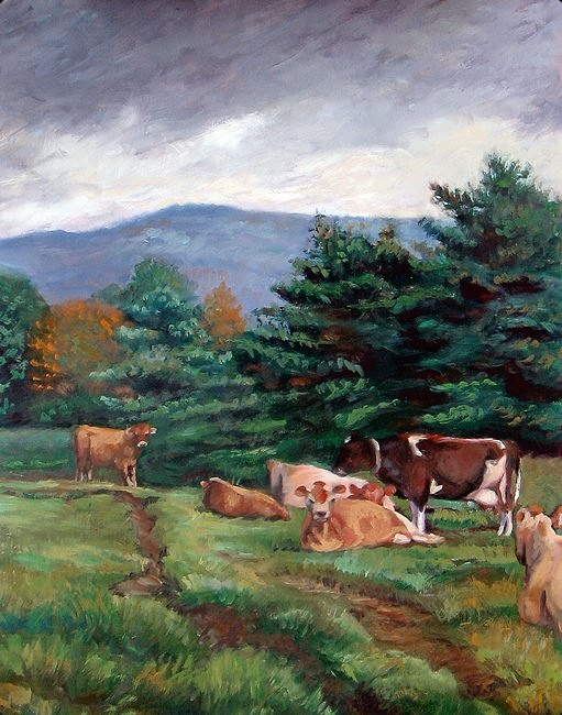 Dark clouds approach a group of cows resting in a grassy pasture in New England (Vermont).  The field looks wet already; perhaps the storm has already passed?  In any case, the cows appear more perturbed by the artist than the weather.