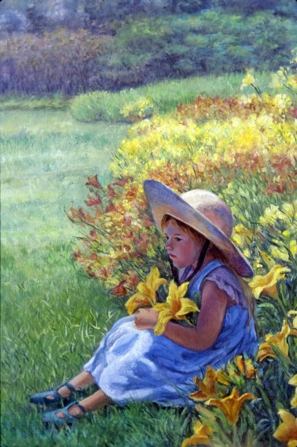 A young girl in a hat sits at the edge of a sunny, grassy meadow in Vermont, having collected a pair of large yellow flowers.